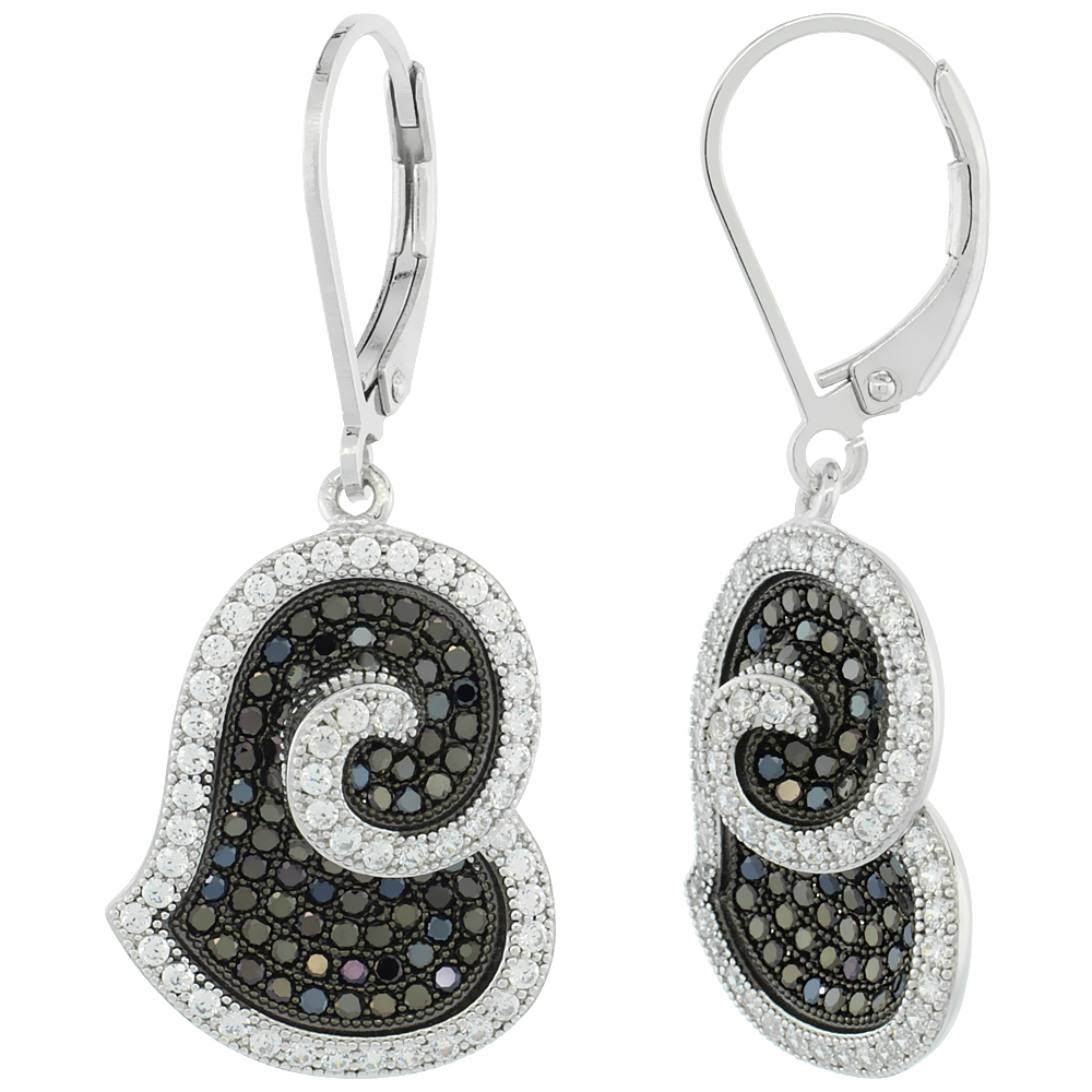 Sterling Silver Micro Pave Cubic Zirconia Spiral Heart lever back Earring Black & White Stones
