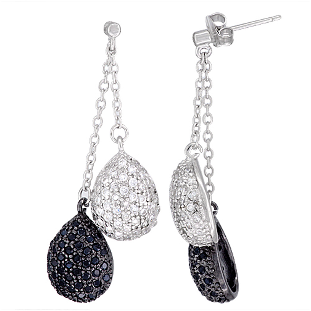 Sterling Silver Twin Dangling Tear Drops CZ Earrings Micro Pave Black & White Stones, 1 3/4 inch long
