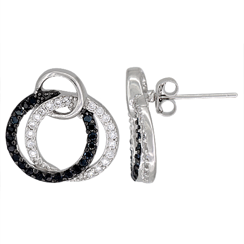 Sterling Silver Twin Circles CZ Earrings Micro Pave Black & White stones, 3/4 inch in diameter