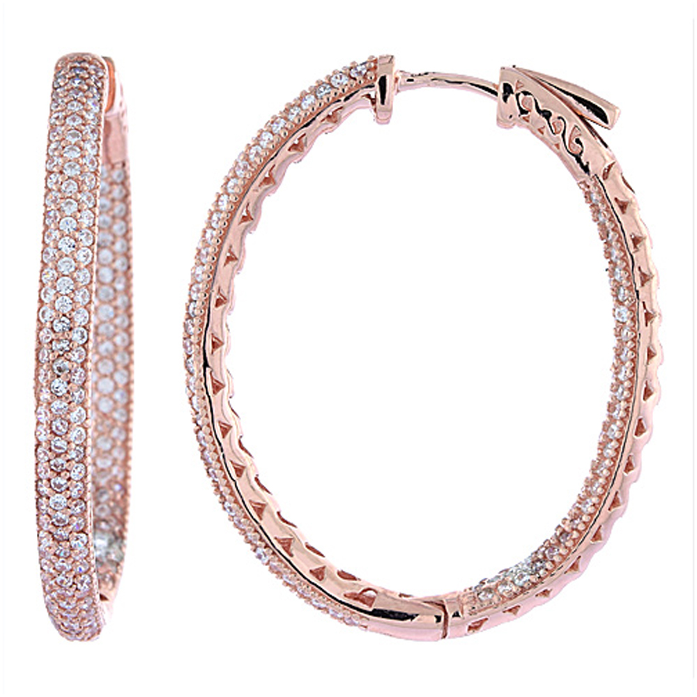 Sterling Silver Micro Pave CZ Inside-Out Hoop Earrings Oval Rose Gold Finish