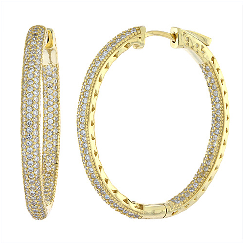 Sterling Silver Micro Pave CZ Inside-Out Hoop Earrings Oval Yellow Gold Finish
