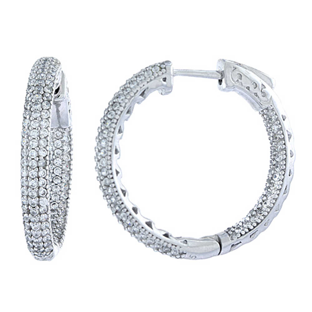 Sterling Silver Micro Pave CZ Inside-Out Hoop Earrings Round in Rhodium, Yellow & Rose Gold Finishes, 1 inch wide