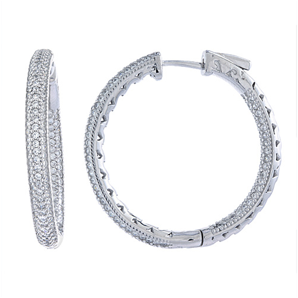 Sterling Silver Micro Pave CZ Inside-Out Hoop Earrings Round in Rhodium, Yellow & Rose Gold Finishes, 1 3/16 inch wide