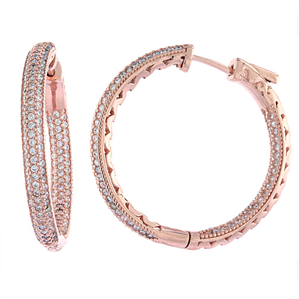 Sterling Silver Micro Pave CZ Inside-Out Hoop Earrings Round Rose Gold Finish