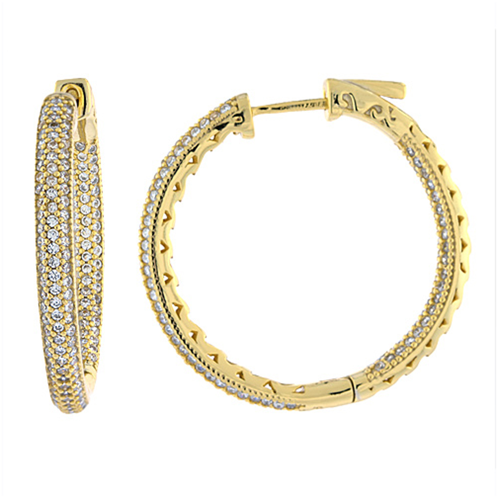 Sterling Silver Micro Pave CZ Inside-Out Hoop Earrings Round Yellow Gold Finish