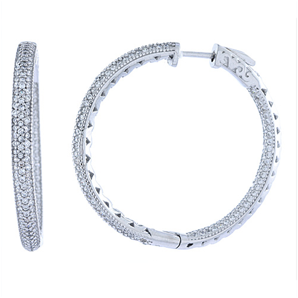 Sterling Silver Micro Pave CZ Inside-Out Hoop Earrings Round in Rhodium, Yellow & Rose Gold Finishes, 1 3/8 inch wide