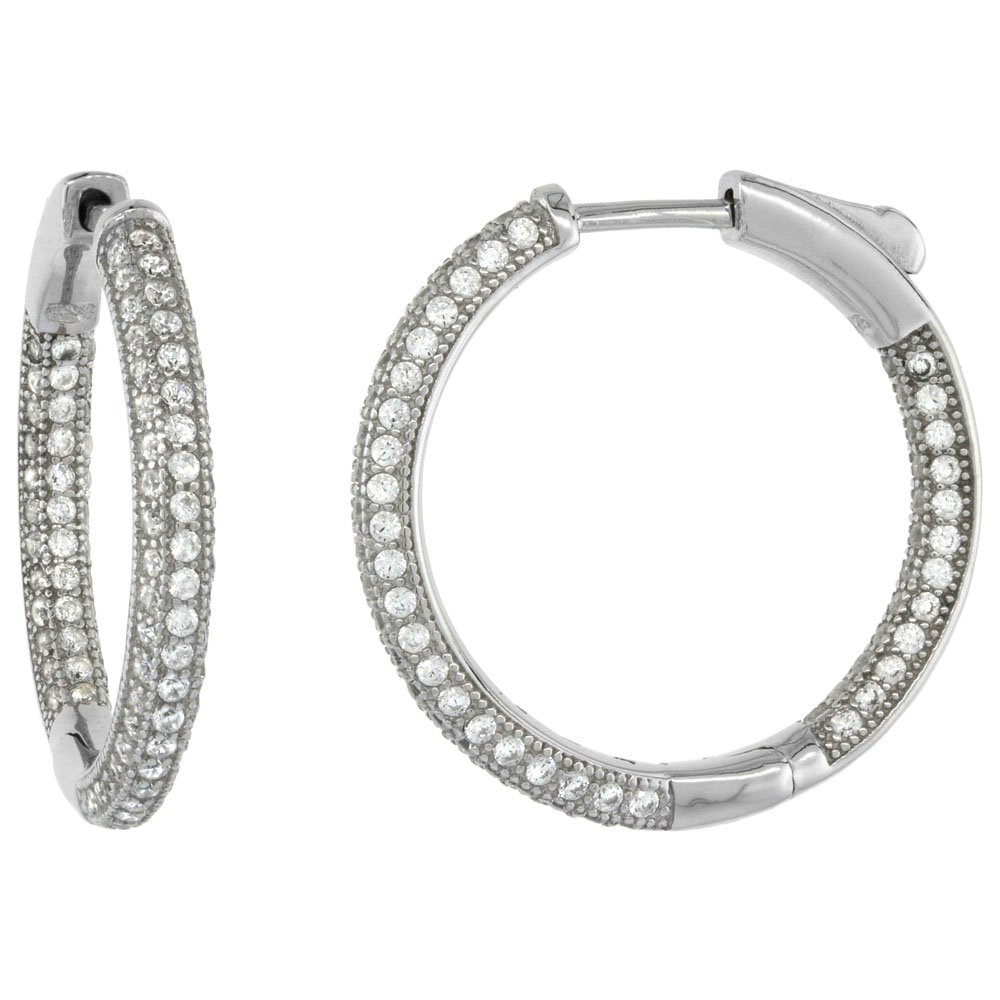 Sterling Silver Micro Pave CZ Inside-Out Round Hoop Earrings Rhodium Finish, 1 inch wide