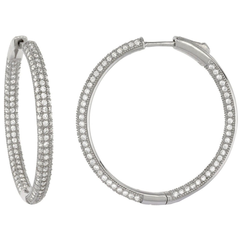 Sterling Silver Micro Pave CZ Inside-Out Round Hoop Earrings Rhodium Finish, 1 3/8 inch wide