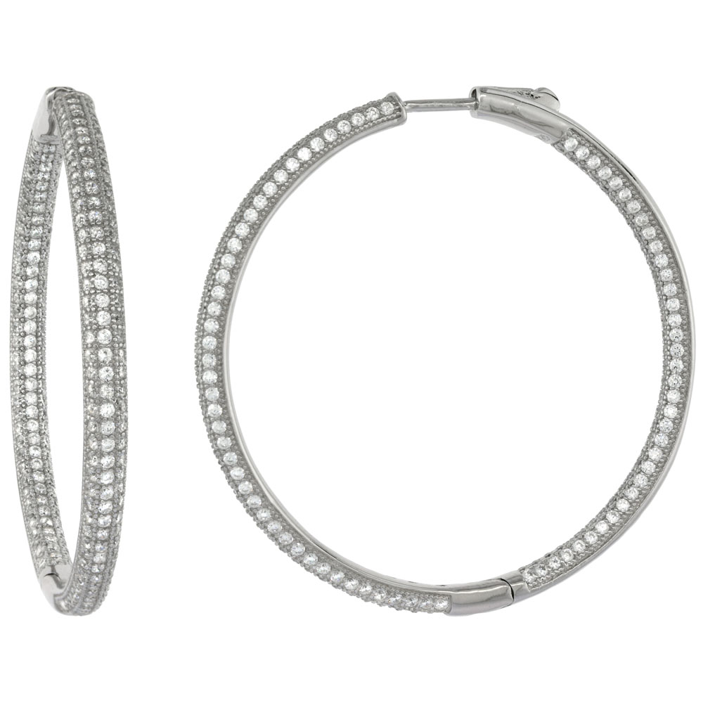 Sterling Silver Micro Pave CZ Inside-Out Round Hoop Earrings Rhodium Finish, 1 3/4 inch wide