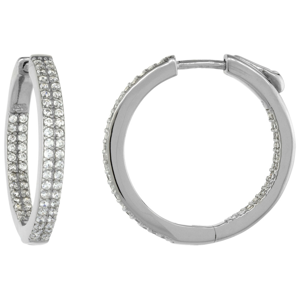 Sterling Silver 2-row Micro Pave CZ Inside-Out Flat Round Hoop Earrings Rhodium Finish, 1 inch wide