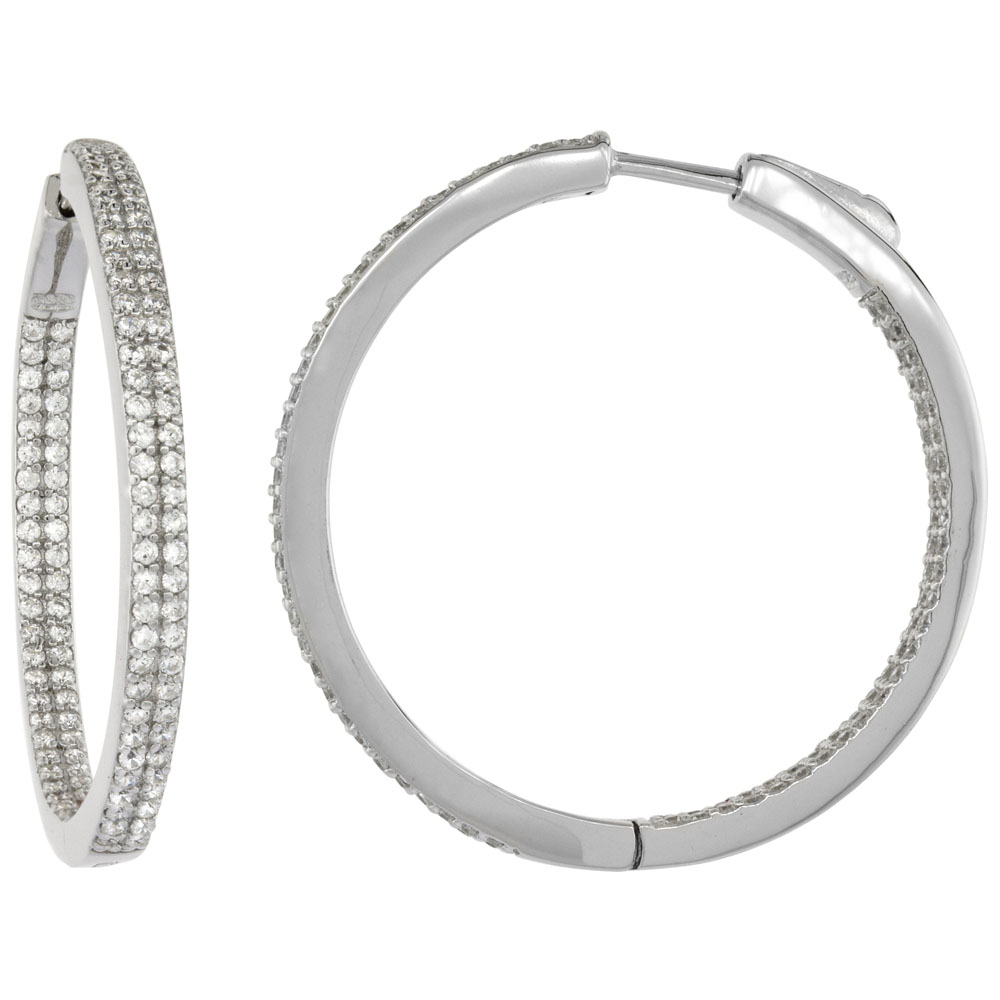 Sterling Silver 2-row Micro Pave CZ Inside-Out Flat Round Hoop Earrings Rhodium Finish, 1 3/8 inch wide