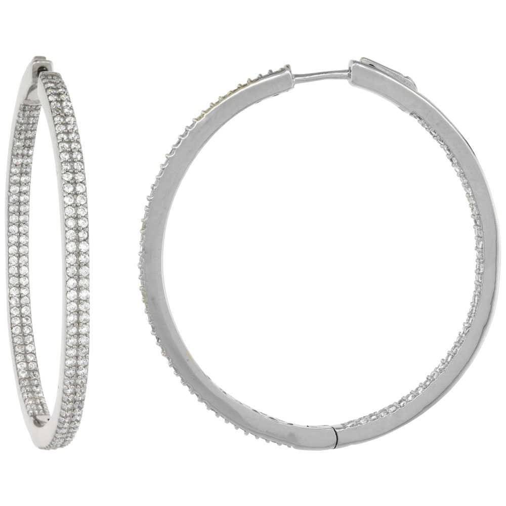 Sterling Silver 2-row Micro Pave CZ Inside-Out Flat Round Hoop Earrings Rhodium Finish, 1 3/4 inch wide