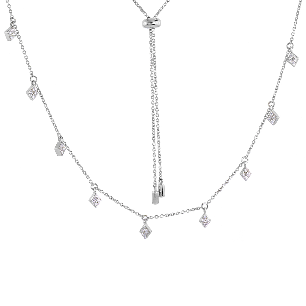 Adjustable Sterling Silver Cubic Zirconia Dangling Station Necklace Micro pave Rhodium Finish 26 inch