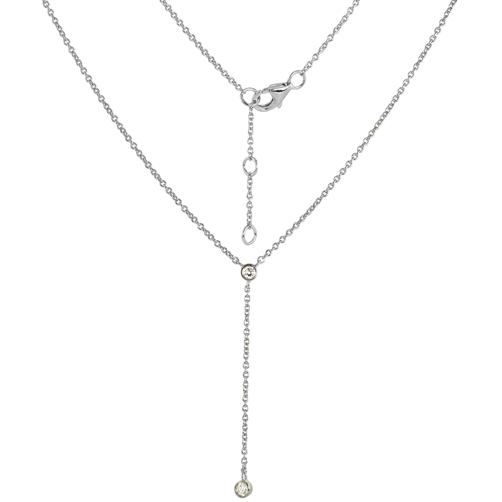 Sterling Silver Cubic Zirconia Y Necklace Bezel Set Rhodium Finish 18 - 20 inch
