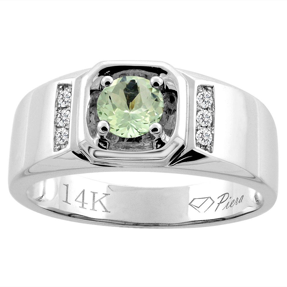 14K White Gold Natural Green Amethyst Men's Ring Diamond Accented 5/16 inch wide, sizes 9 - 14