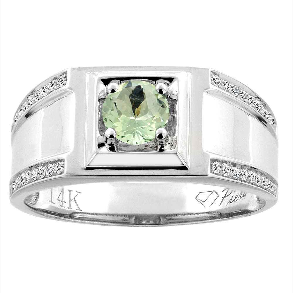 14K White Gold Natural Green Amethyst Men's Ring Diamond Accented 3/8 inch wide, sizes 9 - 14