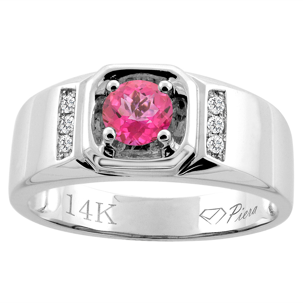 14K White Gold Natural Pink Topaz Men's Ring Diamond Accented 5/16 inch wide, sizes 9 - 14