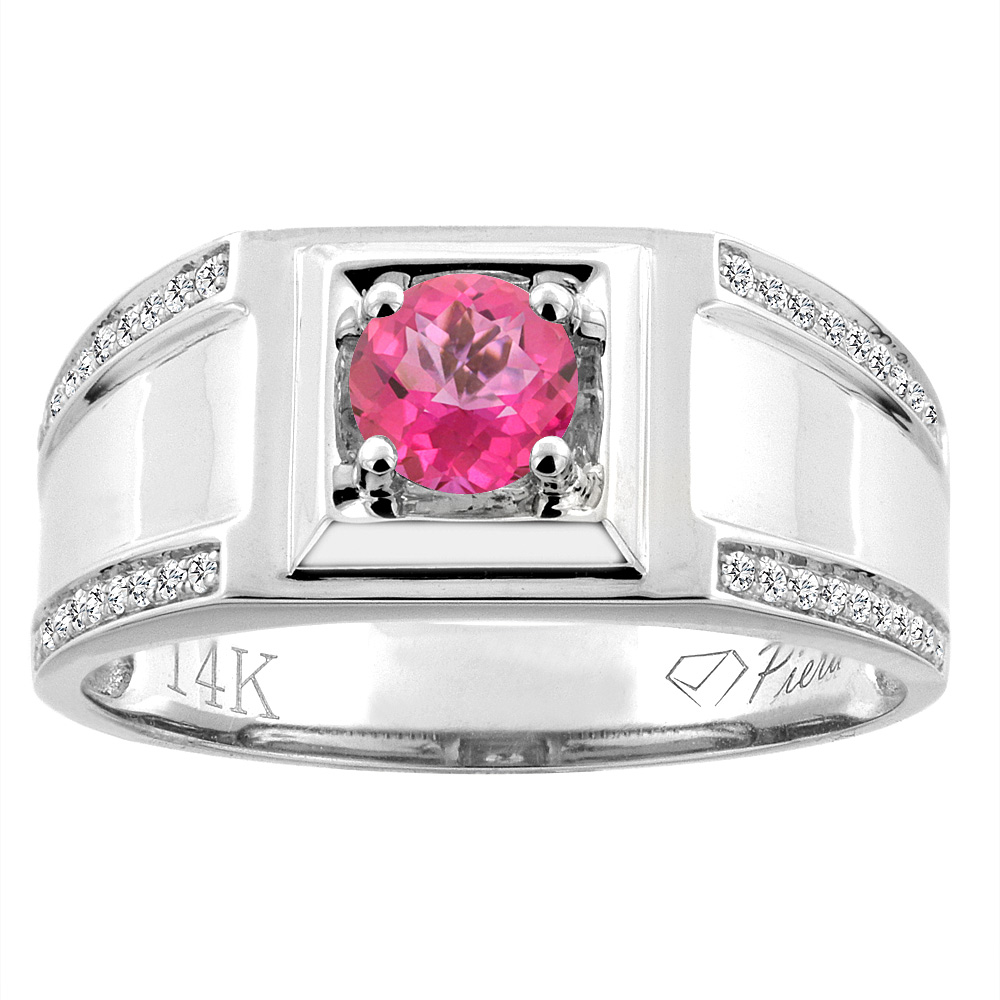 14K White Gold Natural Pink Topaz Men's Ring Diamond Accented 3/8 inch wide, sizes 9 - 14