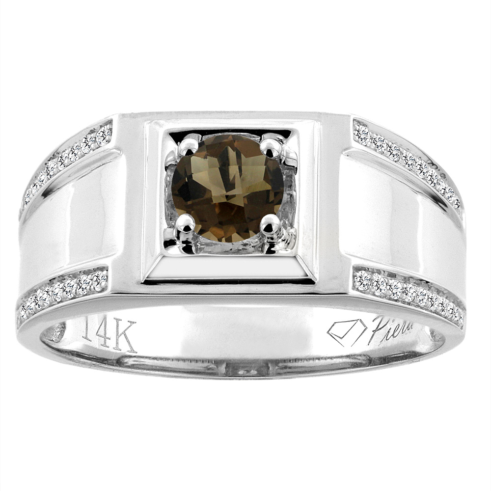 14K White Gold Natural Smoky Topaz Men's Ring Diamond Accented 3/8 inch wide, sizes 9 - 14