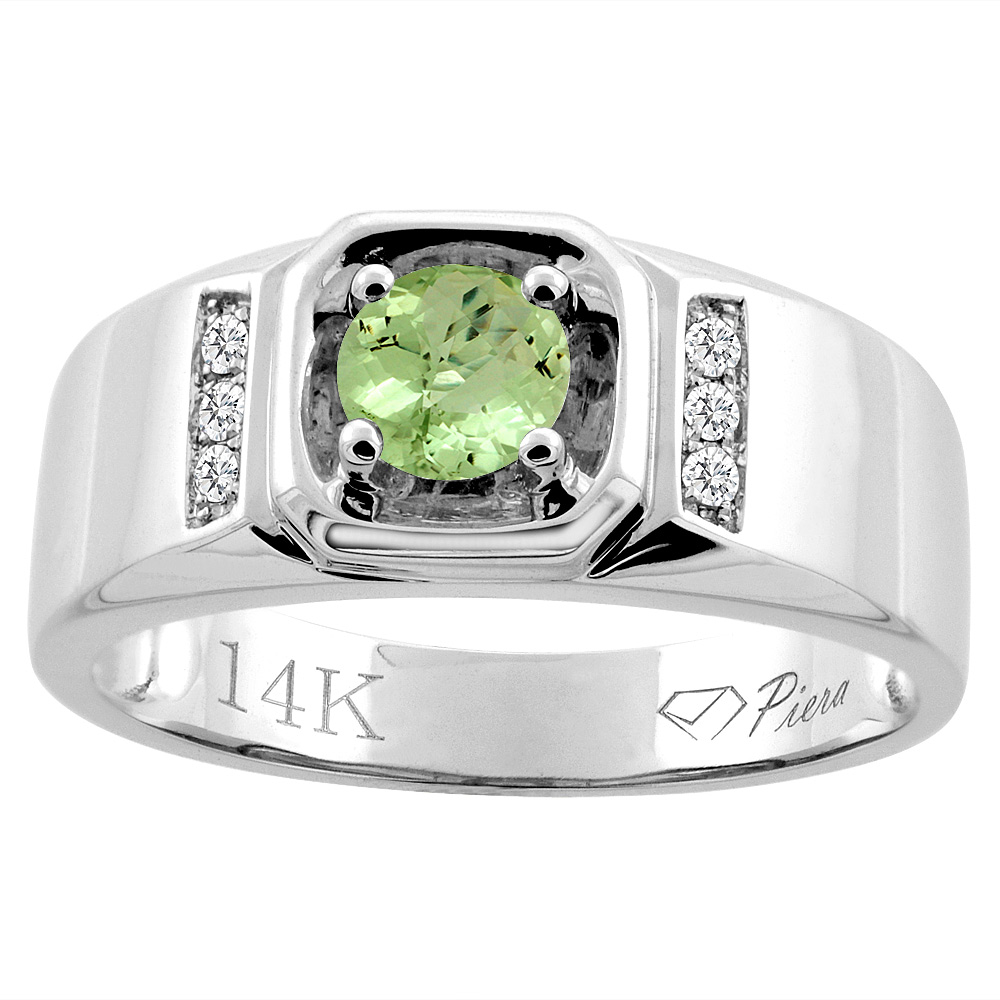 14K White Gold Natural Peridot Men's Ring Diamond Accented 5/16 inch wide, sizes 9 - 14