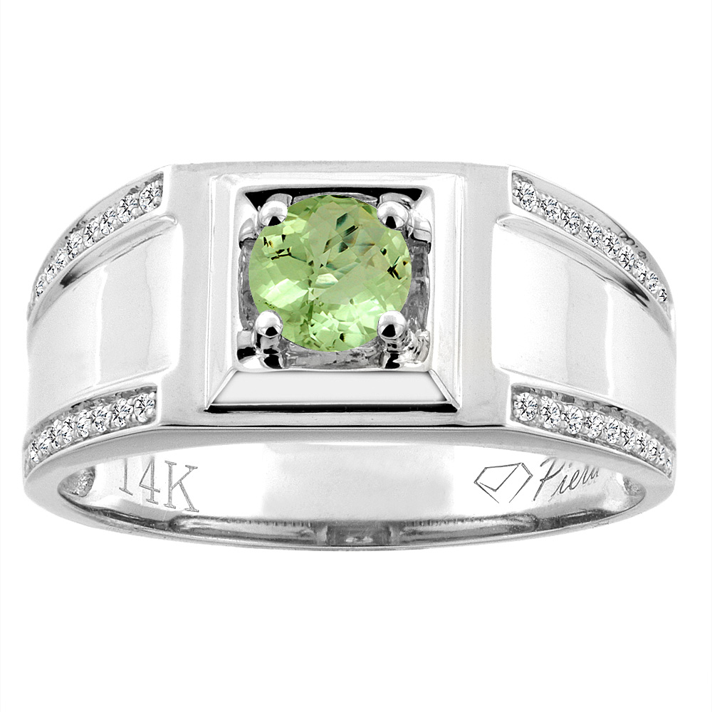 14K White Gold Natural Peridot Men's Ring Diamond Accented 3/8 inch wide, sizes 9 - 14