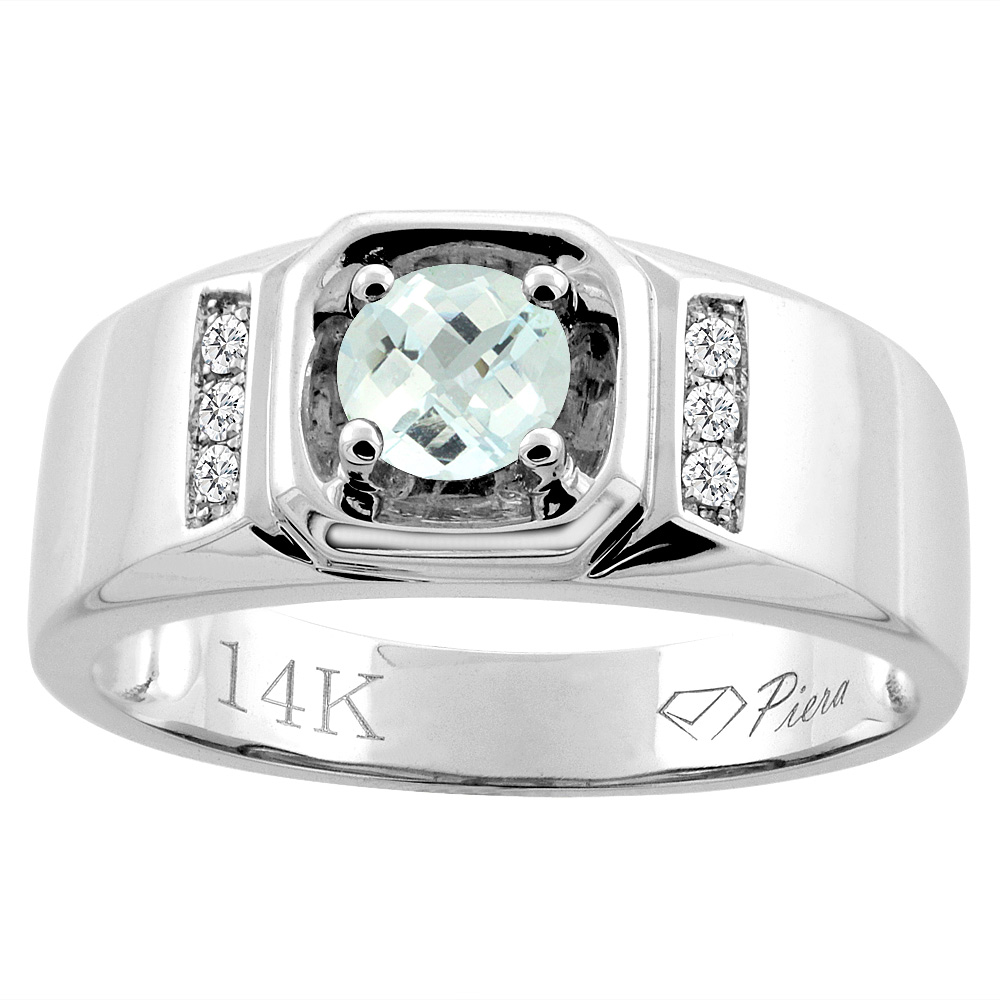 14K White Gold Natural Aquamarine Men's Ring Diamond Accented 5/16 inch wide, sizes 9 - 14