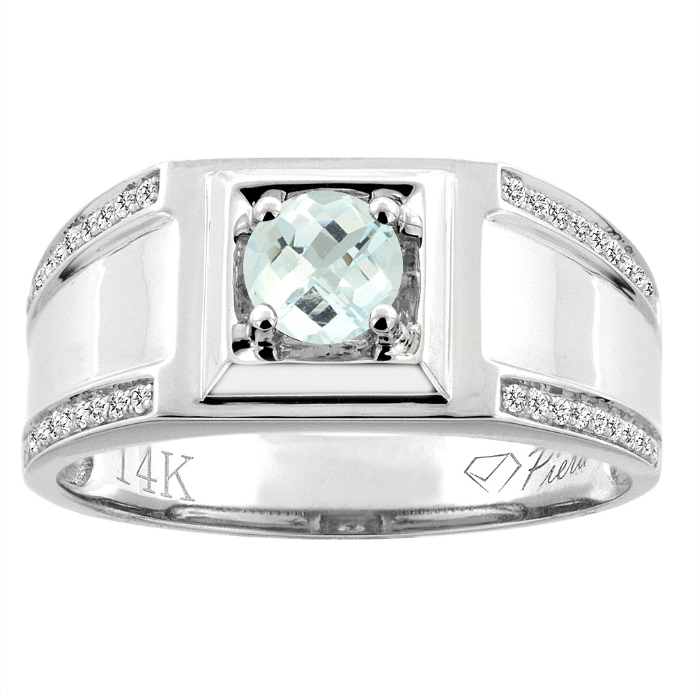 14K White Gold Natural Aquamarine Men's Ring Diamond Accented 3/8 inch wide, sizes 9 - 14
