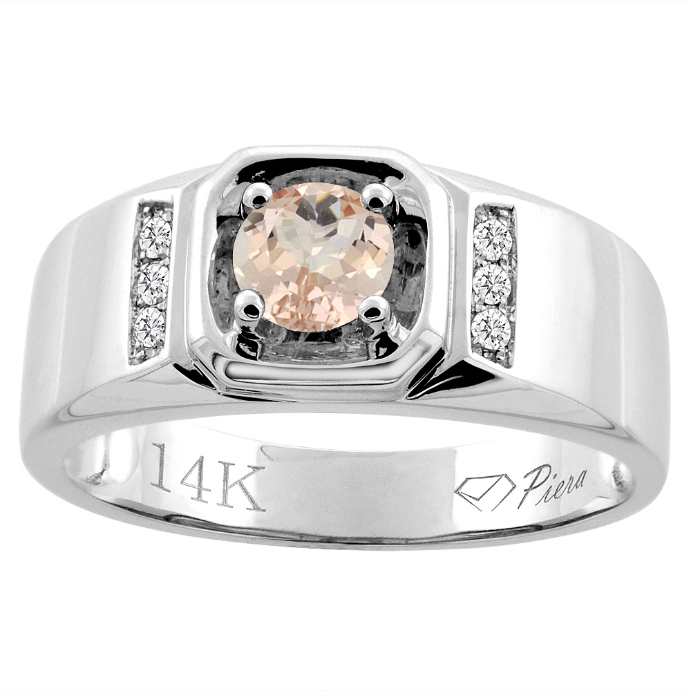 14K White Gold Natural Morganite Men's Ring Diamond Accented 5/16 inch wide, sizes 9 - 14