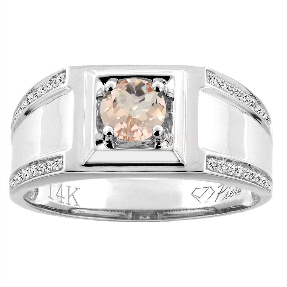 14K White Gold Natural Morganite Men's Ring Diamond Accented 3/8 inch wide, sizes 9 - 14