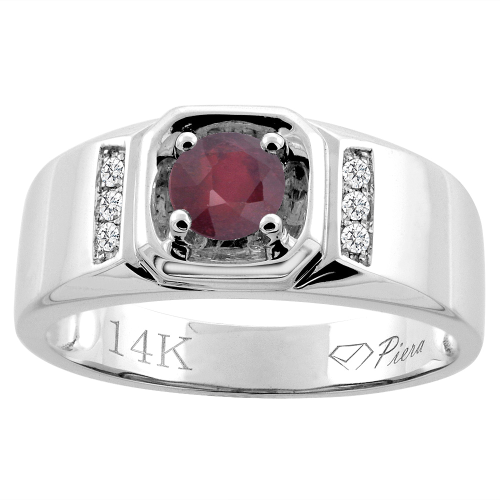 14K White Gold Enhanced Ruby Men's Ring Diamond Accented 5/16 inch wide, sizes 9 - 14