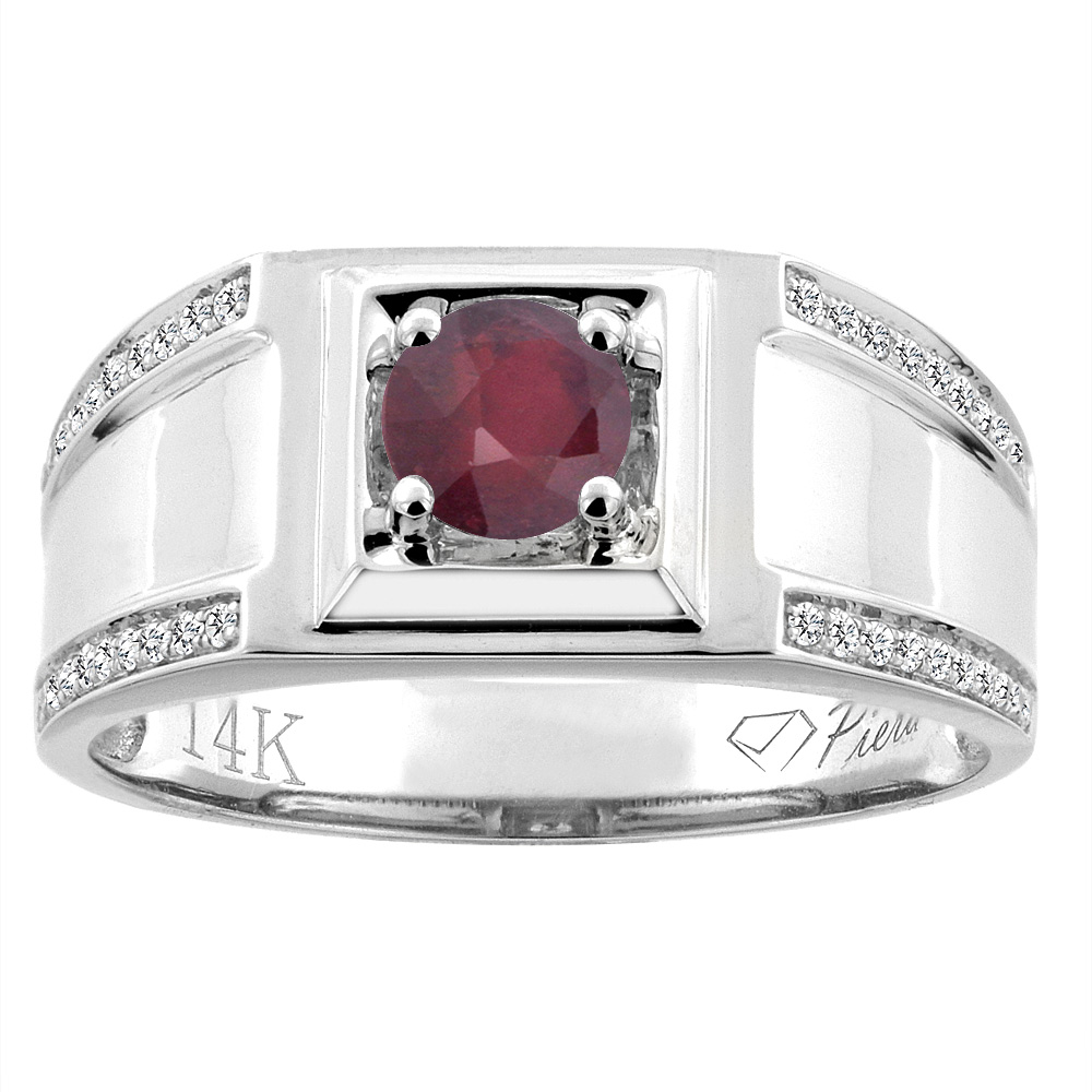14K White Gold Enhanced Ruby Men's Ring Diamond Accented 3/8 inch wide, sizes 9 - 14