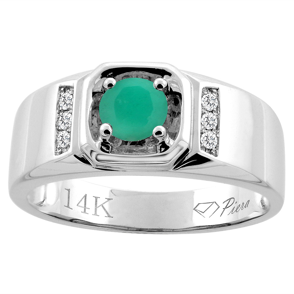 14K White Gold Natural Emerald Men's Ring Diamond Accented 5/16 inch wide, sizes 9 - 14