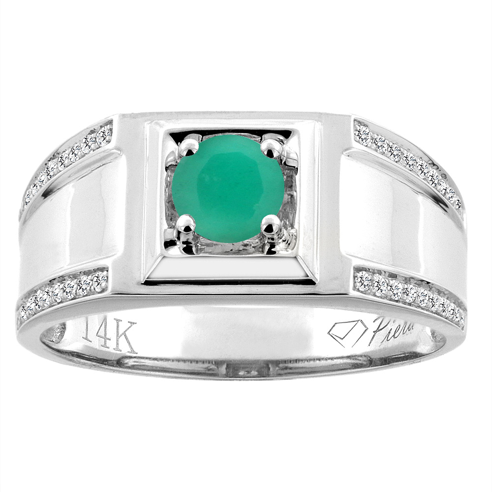 14K White Gold Natural Emerald Men's Ring Diamond Accented 3/8 inch wide, sizes 9 - 14