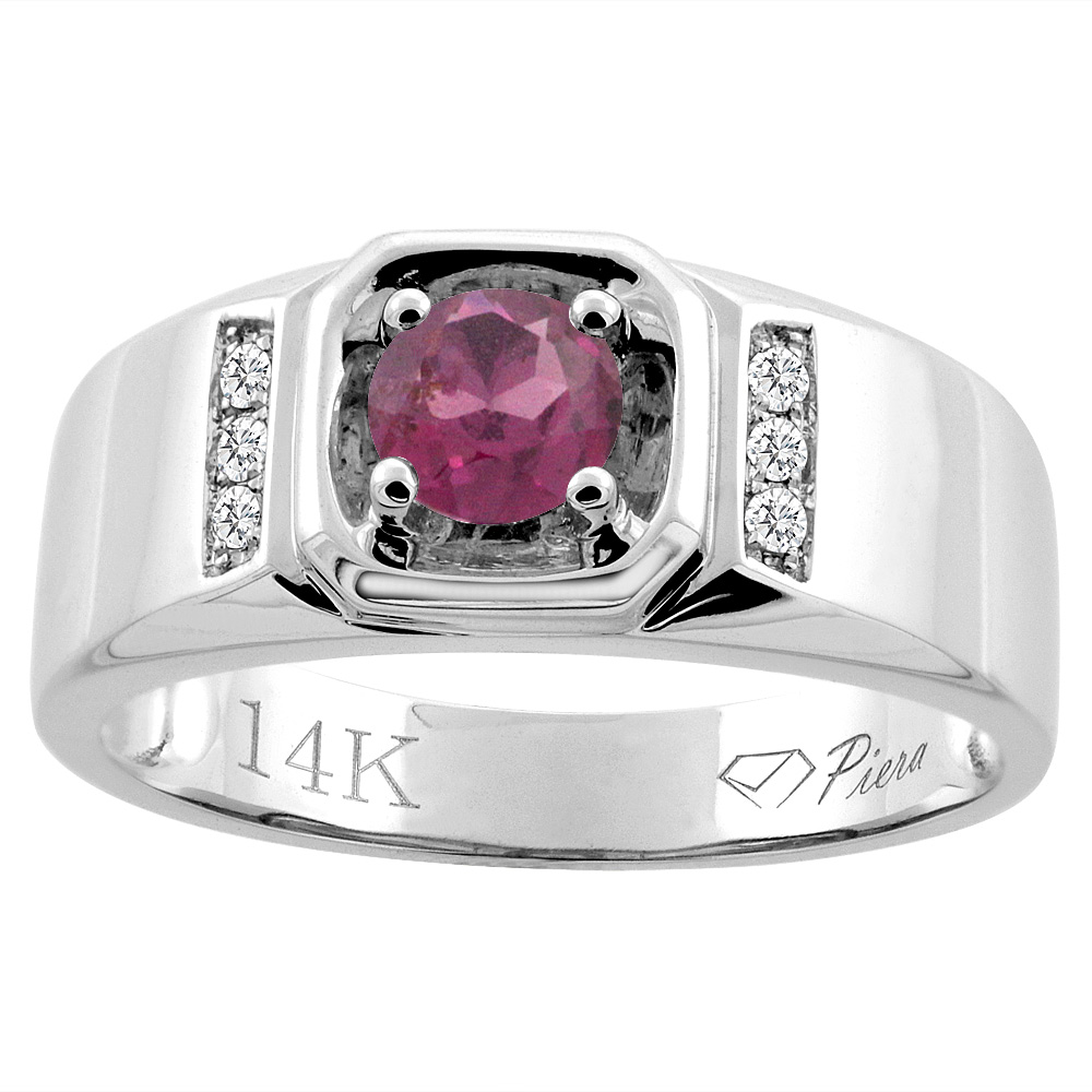 14K White Gold Natural Rhodolite Men's Ring Diamond Accented 5/16 inch wide, sizes 9 - 14