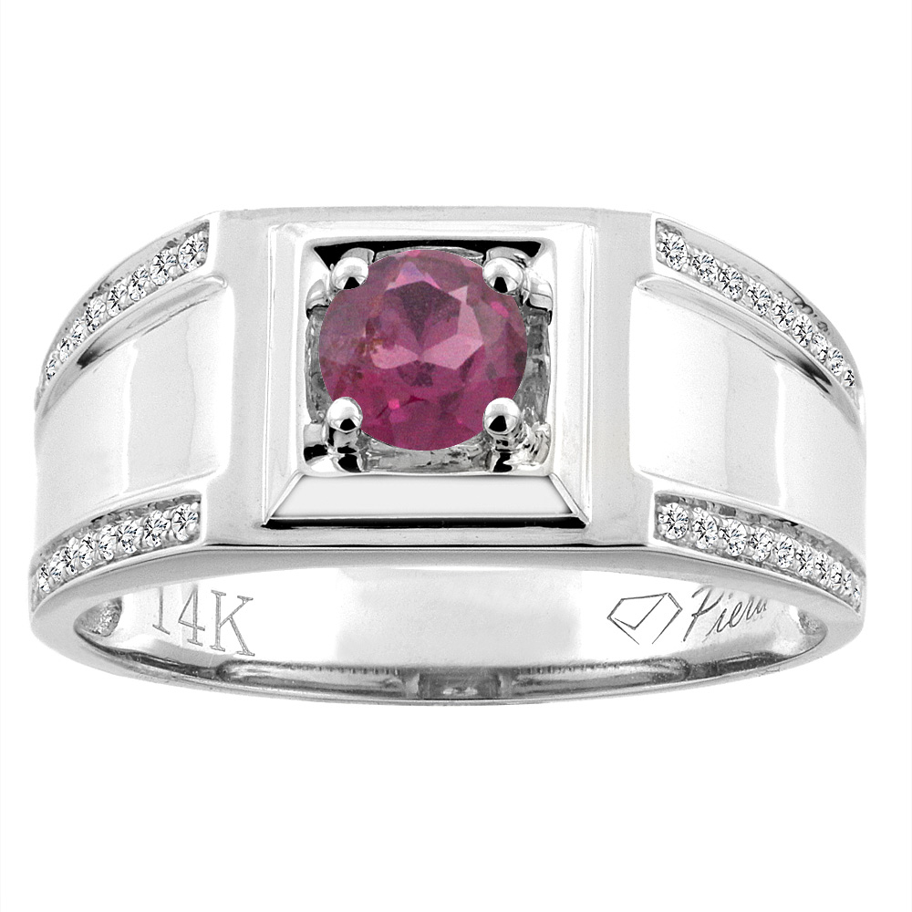 14K White Gold Natural Rhodolite Men's Ring Diamond Accented 3/8 inch wide, sizes 9 - 14
