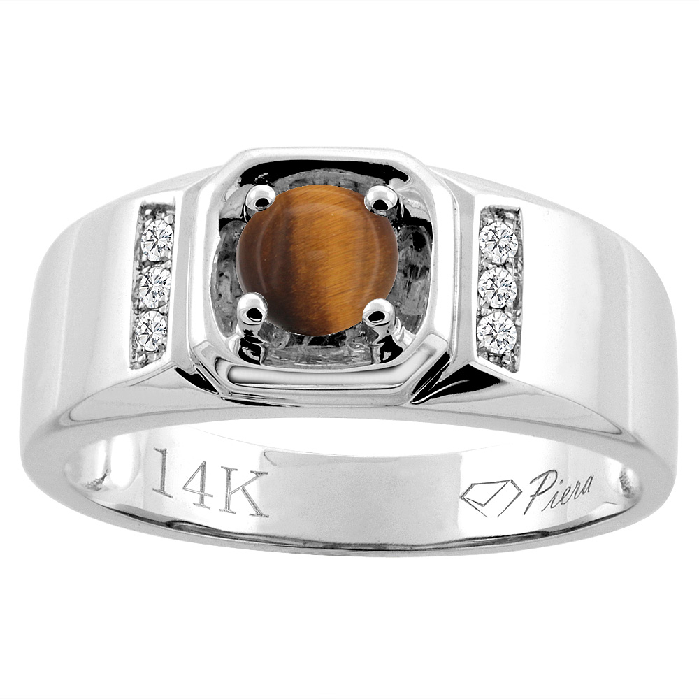 14K White Gold Natural Tiger Eye Men's Ring Diamond Accented 5/16 inch wide, sizes 9 - 14