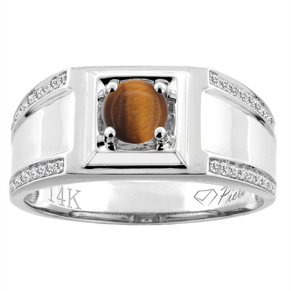 14K White Gold Natural Tiger Eye Men's Ring Diamond Accented 3/8 inch wide, sizes 9 - 14
