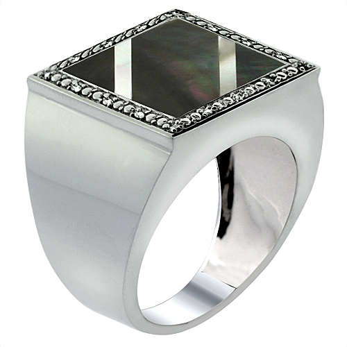 Mens 10K White Gold Natural Onyx Ring Square Mosaic 2-Stripe Mother of Pearl Diamond Accent, sizes 9 - 14