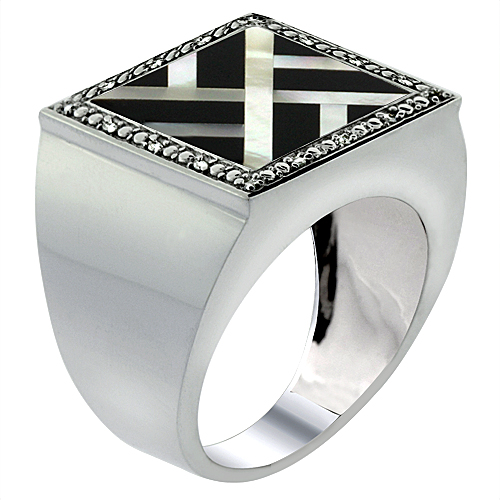 10k White Gold Diamond Natural Onyx & Mother of Pearl Mosaic Ring Square Overlap 9/16 inch wide,size 9-14