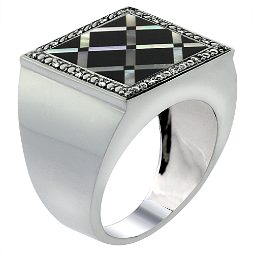 Mens 10K White Gold Natural Onyx & Mother of Pearl Ring Square Mosaic Criss Cross Design Diamond Accent, sizes 9 - 14