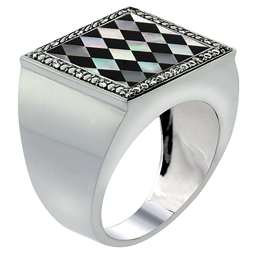 Mens 10K White Gold Natural Onyx & Mother of Pearl Square Mosaic Argyle Pattern Diamond Accent, sizes 9 - 14