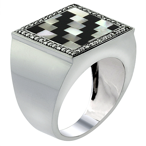Mens 10K White Gold Natural Onyx & Mother of Pearl Ring Square Mosaic Puzzle Design Diamond Accent, sizes 9 - 14