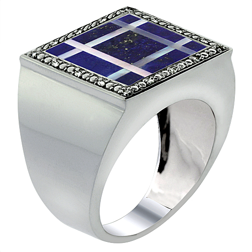 Mens 10K White Gold Natural Lapis & Mother of Pearl Ring Square Mosaic Grid Design Diamond Accent, sizes 9 - 14