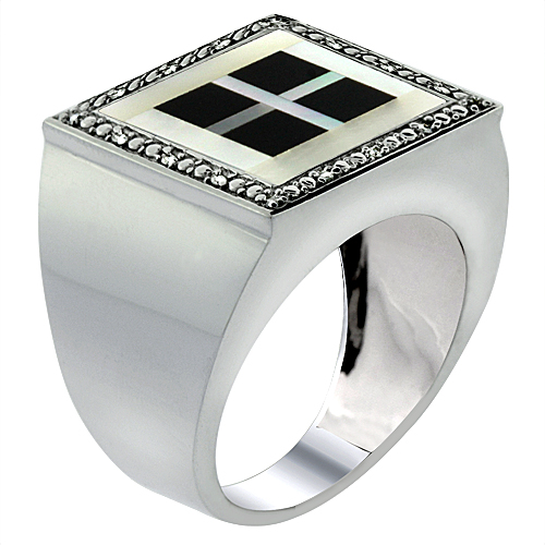 Mens 10K White Gold Natural 4-Square Onyx & Mother of Pearl Ring Square Mosaic Diamond Accent, sizes 9 - 14