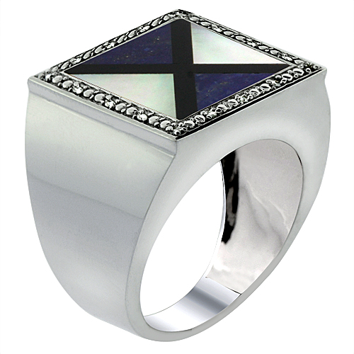 Mens 10K White Gold Natural Onyx, Lapis & Mother of Pearl Ring Square Mosaic Trilateral Shape Diamond Accent, sizes 9 - 14