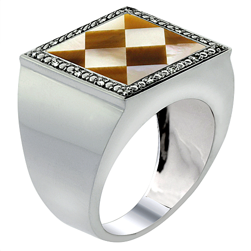 Mens 10K White Gold Natural Tiger Eye & Mother of Pearl Ring Square Mosaic Argyle Pattern Diamond Accent, sizes 9 - 14