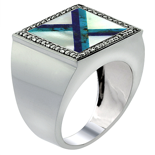 10k White Gold Diamond Natural Mother of Pearl, Lapis & Turquoise Mosaic Ring 9/16 inch wide,size 9-14