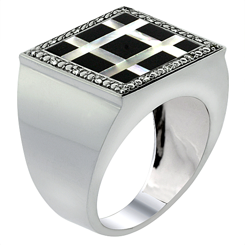 Mens 10K White Gold Natural Onyx & Mother of Pearl Ring Square Mosaic Small Grid Design Diamond Accent, sizes 9 - 14