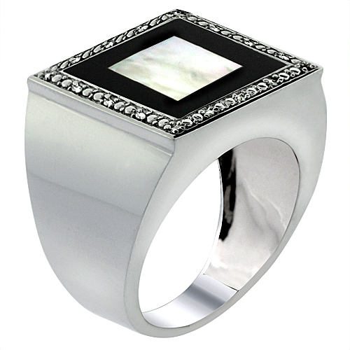 10k White Gold Diamond Natural Mother of Pearl on Onyx Mosaic Ring Square 9/16 inch wide, size 9-14