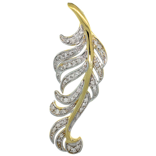 14k Gold 18 in. Thin Chain & Large Leaf Diamond Pendant w/ 0.48 Carat Brilliant Cut ( H-I Color; VS2-SI1 Clarity ) Diamonds